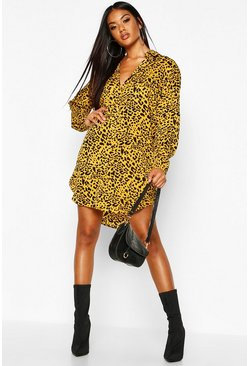 Womens Chartreuse Leopard Print Oversized Dipped Hem Shirt Dress