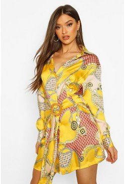Mustard Chain Print Satin Belted Shirt Dress