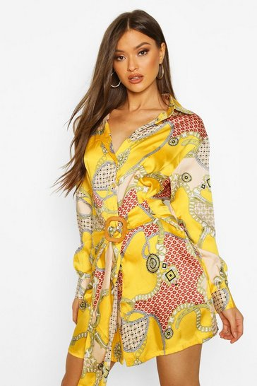 Womens Mustard Chain Print Satin Belted Shirt Dress