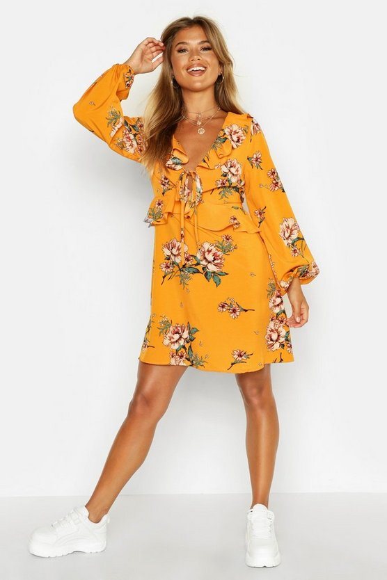 Mustard Floral Print Frill Detail Smock Dress