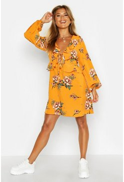 Womens Mustard Floral Print Frill Detail Smock Dress