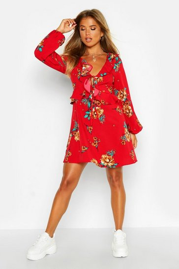 Womens Red Floral Print Frill Detail Smock Dress