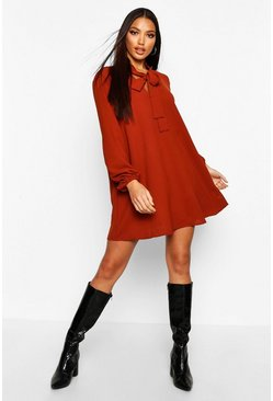 Womens Rust Pussybow Shift Dress