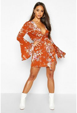 Womens Rust Floral Print Plunge Front Twist Shift Dress