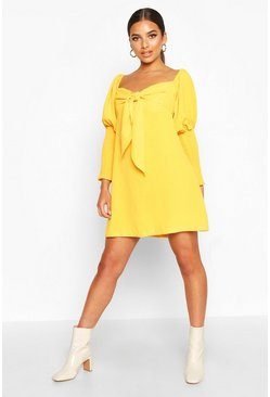 Mustard Off The Shoulder Puff Sleeve Shift Dress