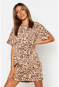 Womens Camel Animal Print Shift Dress