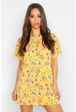Womens Mustard Floral Print Shift Dress