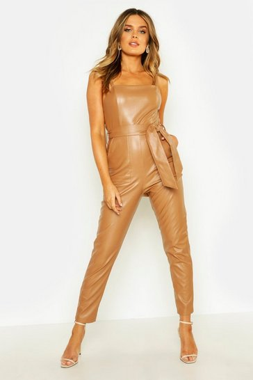 Womens Tan PU Belted Square Neck Jumpsuit
