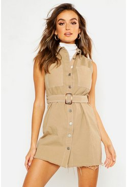 Womens Tan Cotton Twil Contrast Stitch Shirt Dress