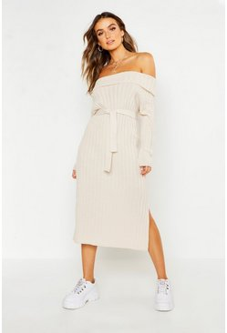 Womens Light stone Knitted Off The Shoulder Tie Waist Midi Dress
