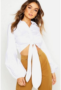 Womens White Woven Tie Front Balloon Sleeve Shirt