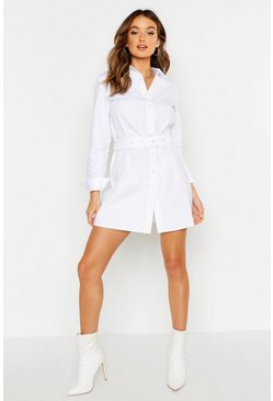 Womens White Woven Belted Shirt Dress
