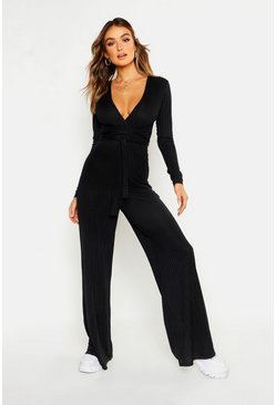 Womens Black Rib Wrap Over Wide Leg Jumpsuit