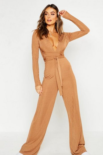 Womens Caramel Rib Wrap Over Wide Leg Jumpsuit
