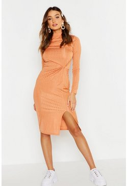 Womens Apricot Rib Grown On Neck Twist Detail Midi Dress