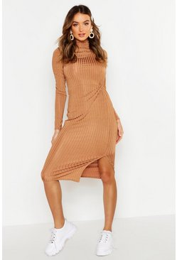 Caramel Rib Grown On Neck Twist Detail Midi Dress