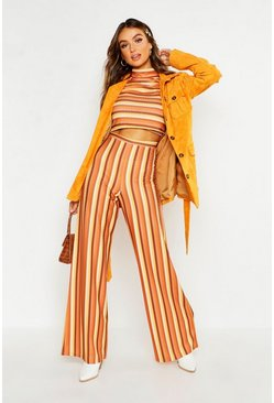 Womens Tan Rib Stripe High Waisted Wide Leg Trouser