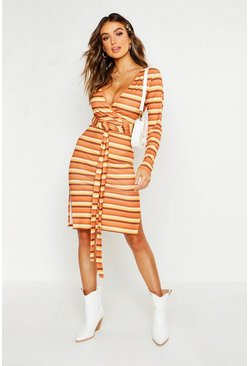 Womens Tan Rib Stripe Wrap Around Top + Skirt Co-Ord