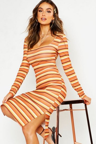 Womens Tan Rib Square Neck Split Side Midi Dress