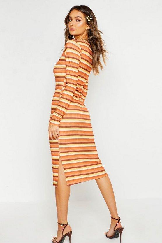 Rib Square Neck Split Side Midi Dress