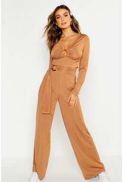 Womens Caramel Rib O-Ring Tie Detail Wide Leg Trousers