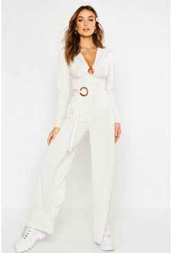 Womens Cream Rib O-Ring Tie Detail Wide Leg Trousers