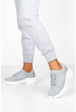 Womens Grey Reflective Panels Chunky Sole Trainers