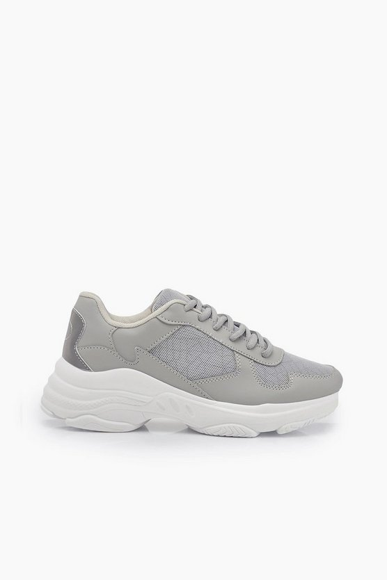 Reflective Panels Chunky Sole Trainers
