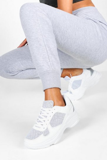 Womens White Reflective Panels Chunky Sole Trainers