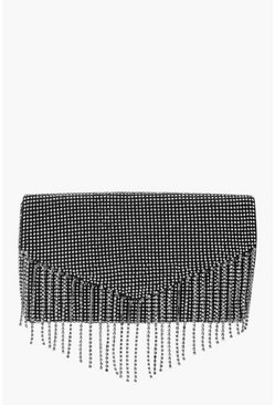 Womens Black Diamante Fringe Clutch Bag