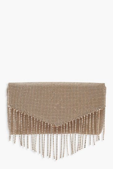Womens Gold Diamante Fringe Clutch Bag
