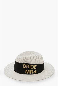 Womens Black Changeable Band Bride & Mrs Tape Fedora Hat