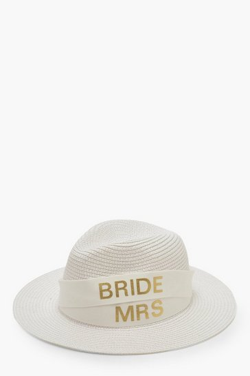 Womens White Changeable Band Bride & Mrs Tape Fedora Hat