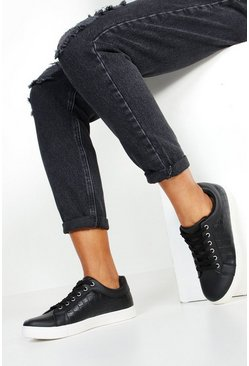 Womens Black Croc Panel Basic Sneakers