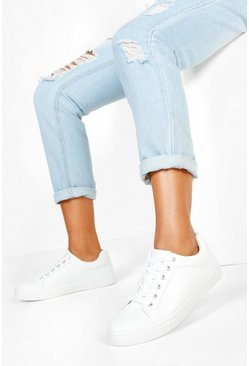 Womens White Croc Panel Basic Sneakers