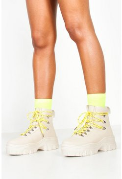 Womens Beige Lace Up Hiker Trainers