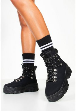Womens Black Lace Up Hiker Trainers
