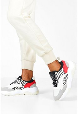 Womens Grey Zebra Panel Chunky Sole Trainers