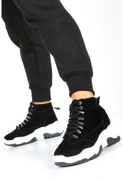 Womens Black Chunky Sole Lace Up Hiker Trainers