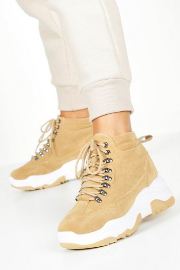 Womens Tan Chunky Sole Lace Up Hiker Trainers