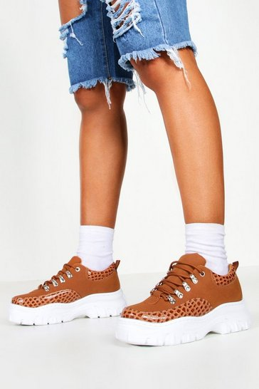 Womens Tan Croc Panel Chunky Hiker Trainers