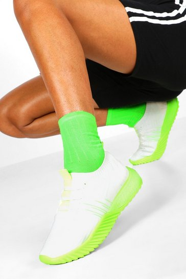 Lime Neon Sole Knitted Sports Trainers