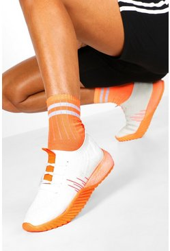 Womens Orange Neon Sole Knitted Sports Trainers