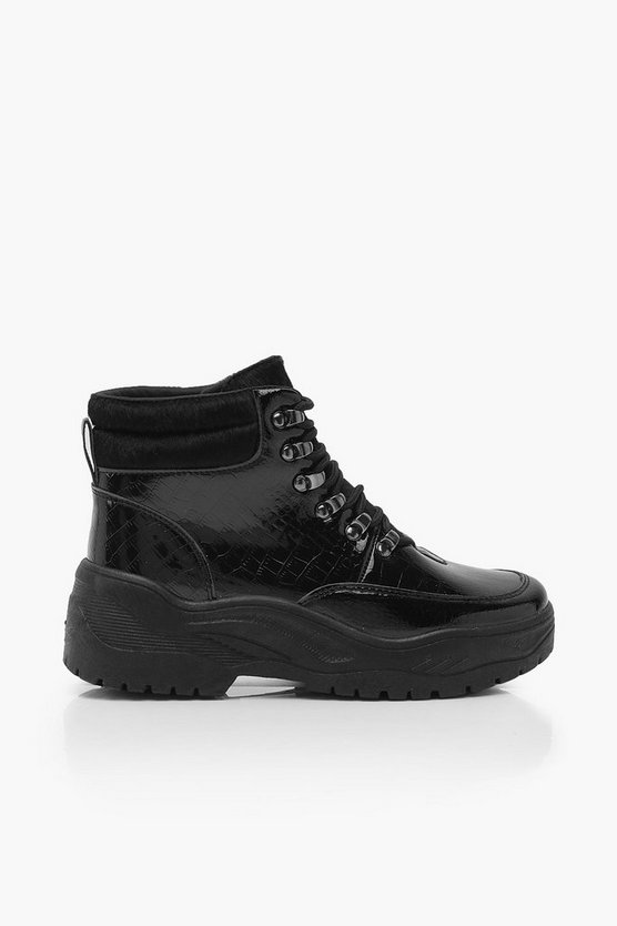 Croc Patent Chunky Hiker Trainers