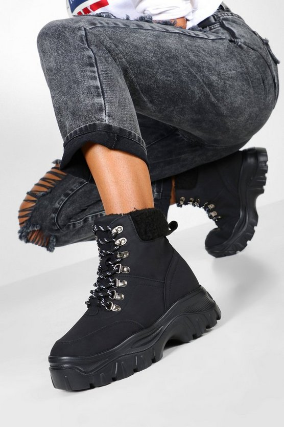 Black Shearling Cuff Chunky Hiker Trainers