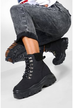 Dam Black Shearling Cuff Chunky Hiker Trainers