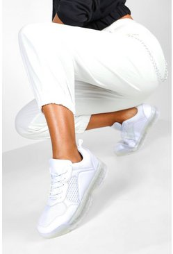 Womens White Transparent Sole Lace Up Sports Trainers
