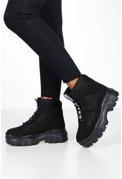 Womens Black Lace Up Chunky Platform Hiker Trainers