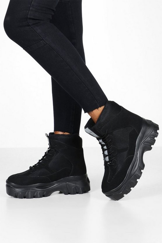 Lace Up Chunky Platform Hiker Trainers