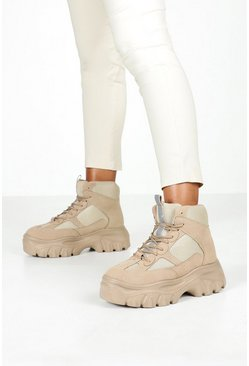 Womens Sand Lace Up Chunky Platform Hiker Trainers